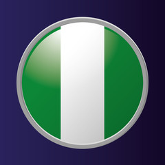 Button Of Nigeria's Flag Isolated On Background