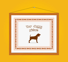 dog picture frame in yellow wall