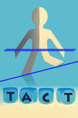 word Tact on cubes in front of paper man