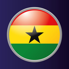 Button Of Ghana's Flag Isolated On Background