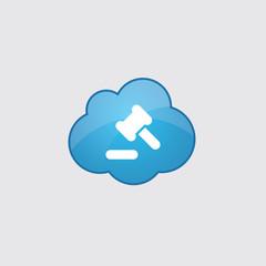 Blue cloud court law icon.