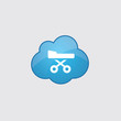 Blue cloud hospital bed icon.
