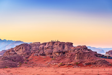 Jordanian desert at early-morning in Wadi Rum, Jordan