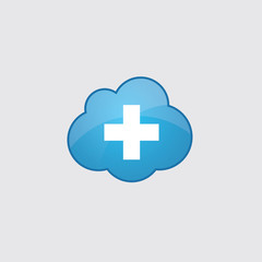 Blue cloud plus icon.