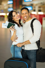 lovely mid age couple at airport