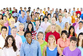 Large Group of Ethnicity People Smiling