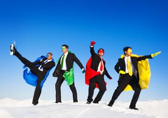Superhero Team in Action on Snow