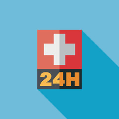 Hospitals 24 hours flat icon with long shadow