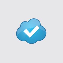 Blue cloud ok icon.