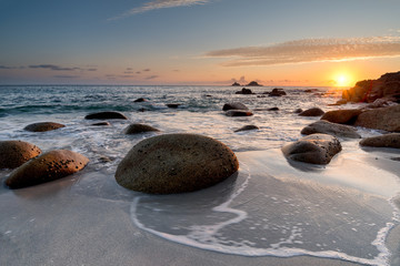 Sunset at Porth Nanven Beach in Cornwall