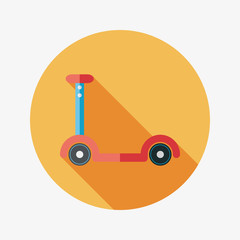scooter flat icon with long shadow