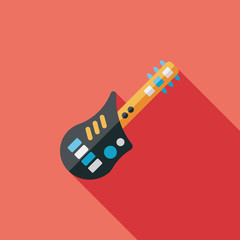 guitar flat icon with long shadow