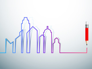 design Colorful city skylines background with pencil vector illu