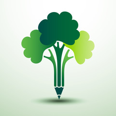 Green tree pencil creative idea,vector illustration