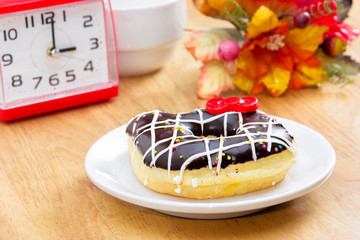 Chocolate Donut  on the wooden table