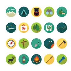 Camping icons set. Illustration eps10