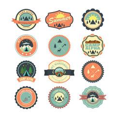 Set of vintage outdoor camp badges and logo emblems. Illustratio