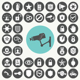 Security device icons set. Illustration eps10