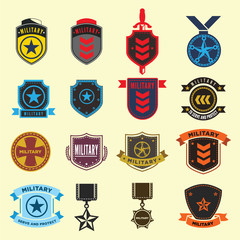 Set of military and armed forces badges. Illustration eps10