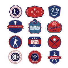 Set of vintage baseball labels and badges. Illustration eps10