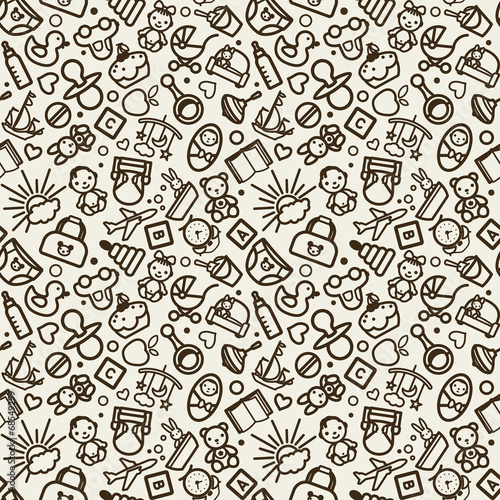 Staande foto Kunstmatig vector seamless texture with icons - children, nursery