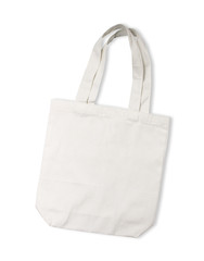 White cotton bag on white isolated background