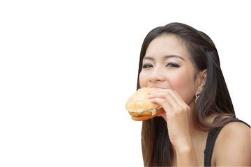 Girl Eating a Cheeseburger