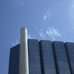 Modern building and chimney