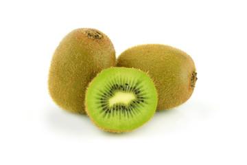 Fresh organic kiwi with leaves