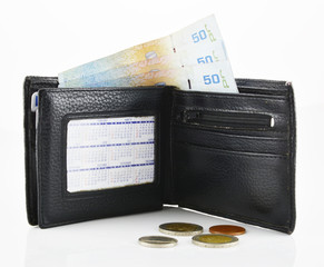 Leather wallet and banknotes on a white background.