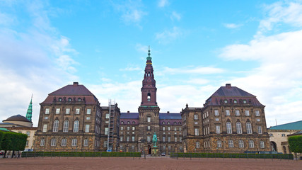 Christiansborg Castle in the central Copenhagen, Denmark