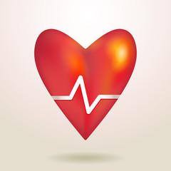 Áåçûìÿííûè?-Red glossy shiny three-dimensional heart 3d on a whi