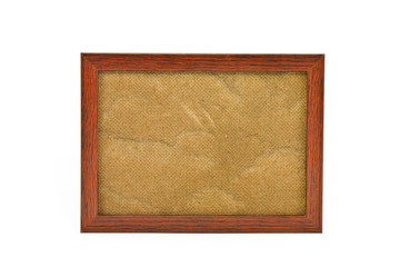 Old wooden photo frame on white background