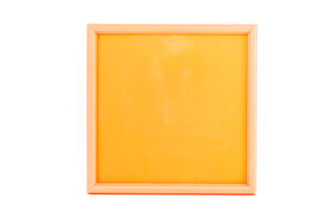 Plastic colorful photo frame on white background