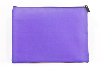 Old purple bag on white background