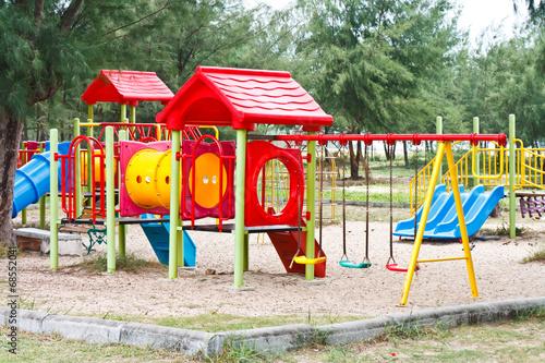 children playground in park - 68552041
