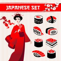 Japanese set: traditional food sushi, geisha
