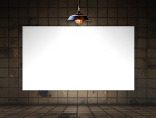 Blank frame on tile wall for information message