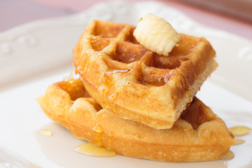 Waffle butter and honey