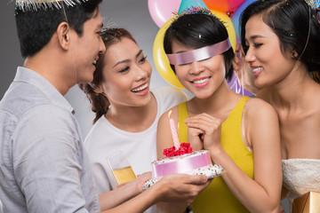 Blindfolded birthday girl
