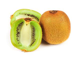 Whole kiwi fruit and his sliced segments isolated on white