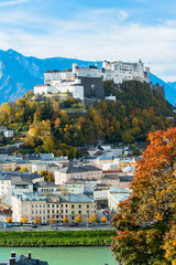 General view on historical city Salzburg, Austria
