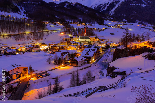 Mountains ski resort Solden Austria - sunset