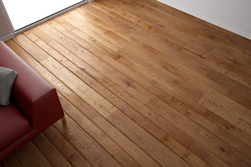 Wooden floor texture with red leather couch