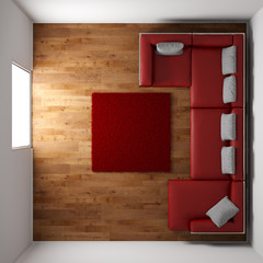 Wooden floor with red leather couch top view