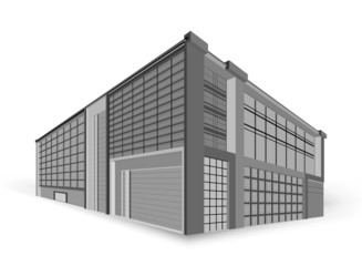 Modern building style gray color on a white background