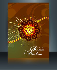 Raksha Bandhan reflection colorful brochure rakhi template india