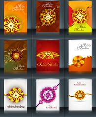Beautiful raksha bandhan brochure template collection set reflec