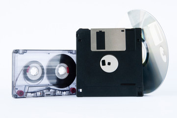 disk, tape and floppy disk