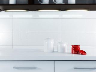 a part of white kitchen interior
